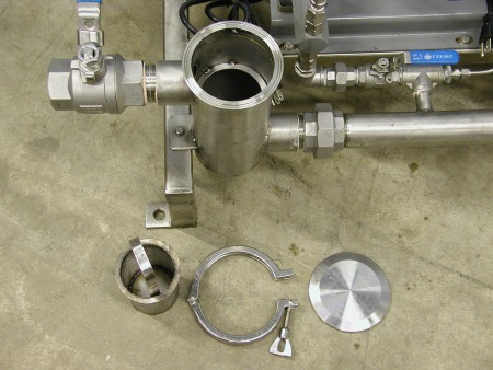 Stainless basket strainer dissasembled