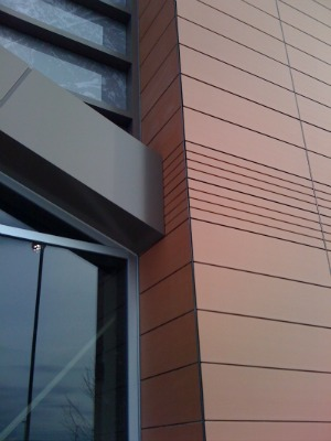 Porcelain rear hung facade panels used on a north american supermarket