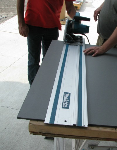 Makita panel saw with extended fence